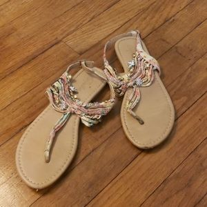 Paprika floral strap and chain sandals